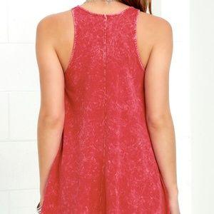 Lulu's Dresses - Lulus Washed Red Dress w/ Pockets